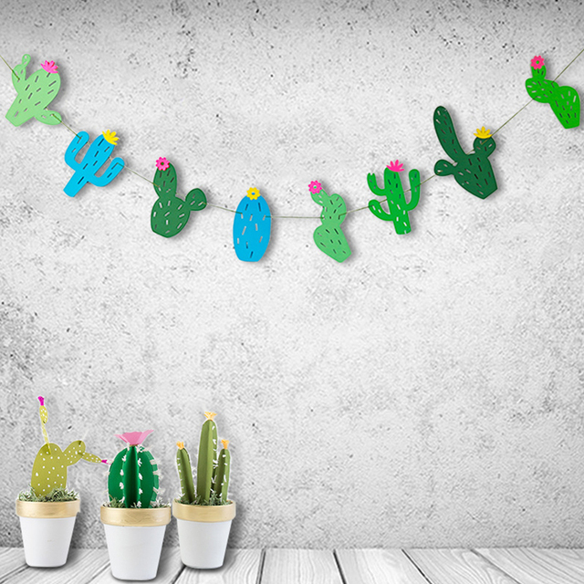 8 Cartoon Green Cactus Set Banners Tropical Theme Party Birthday Favors Bunting Flags Classroom Home