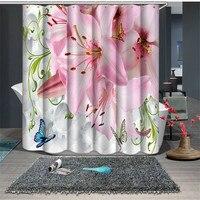 Pink White Floral Print Waterproof Fabric Bathroom Kitchen 3D Shower Curtains Door Window Curtains