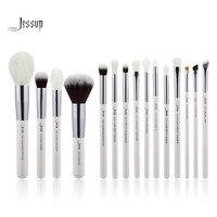 Jessup Pearl White Silver Professional Makeup Brushes Set Make Up Brush Tools Kit Foundation Powder Natural