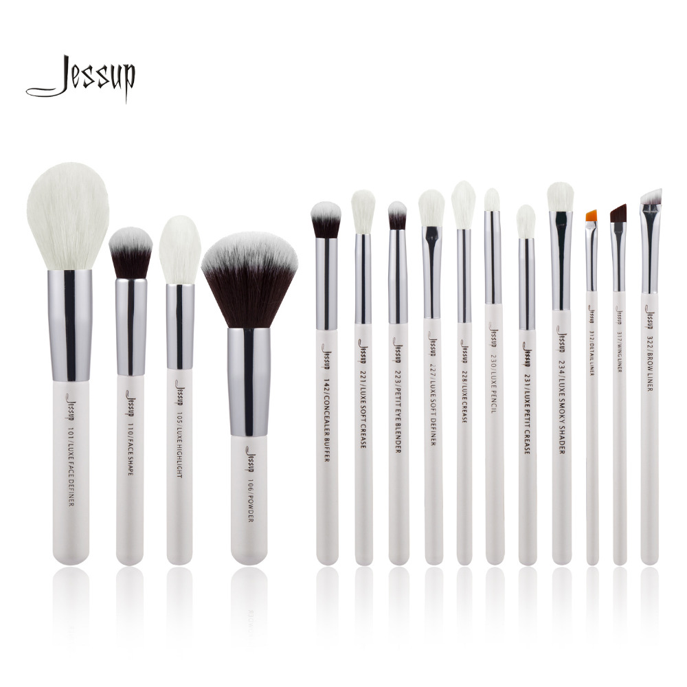 Jessup Pearl White/Silver Professional Makeup Brushes Set Beauty Make up Brush Tools Foundation Powder natural-synthetic hair цены онлайн