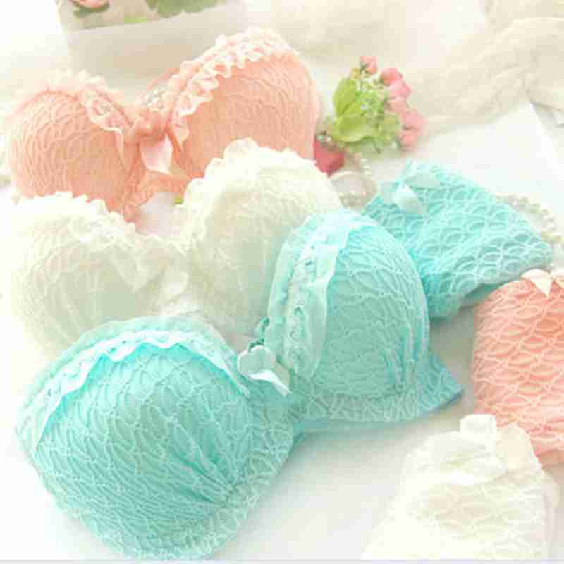 Fashion Lady Sexy Luxury Lace Flower Lingereie Cotton Bra Set Knickers Push Up 32-36A V-Neck