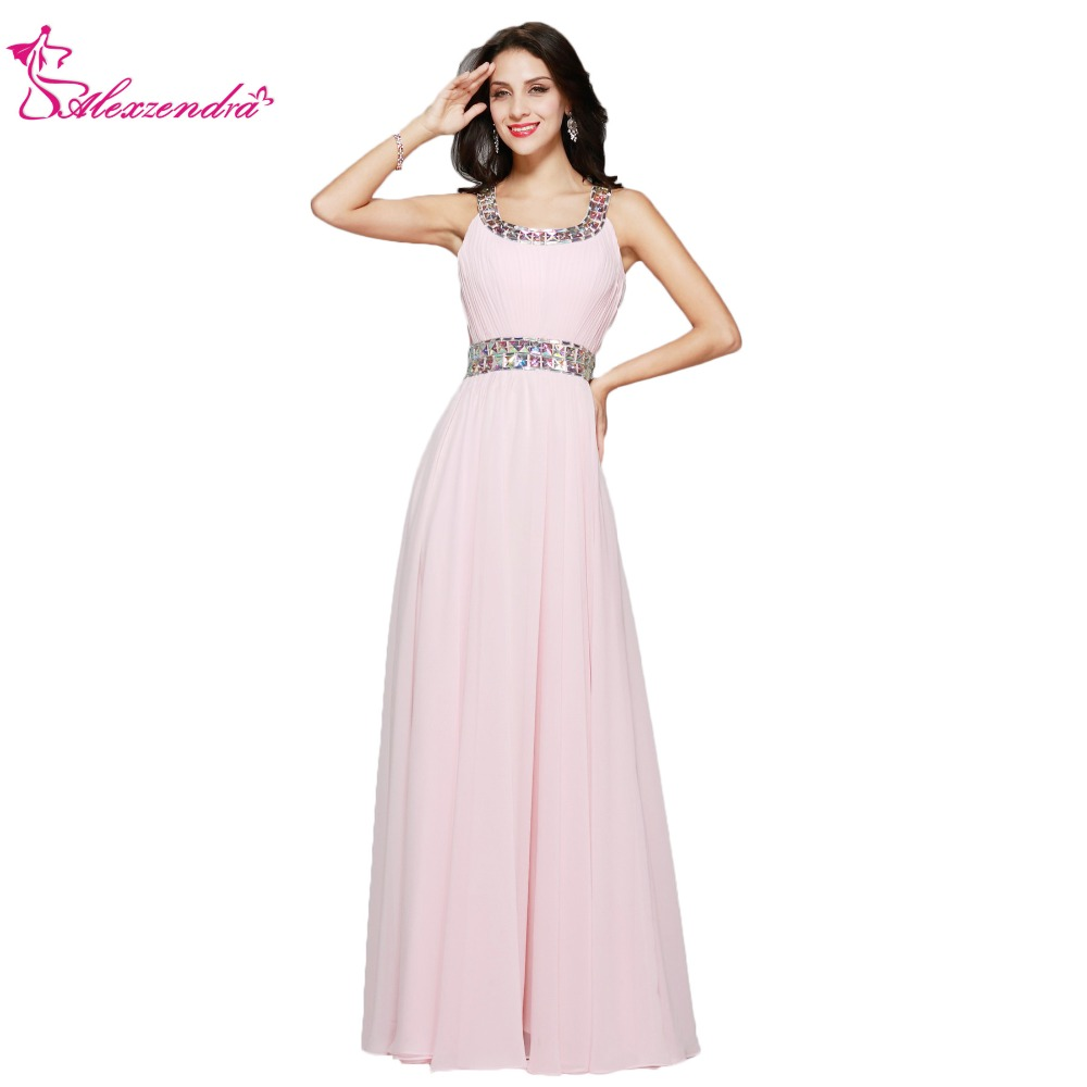 Alexzendra A Line Light Pink Long Chiffon   Prom     Dresses   Plus Size Simple Beaded Scoop Neck   Prom   Gowns Party   Dress