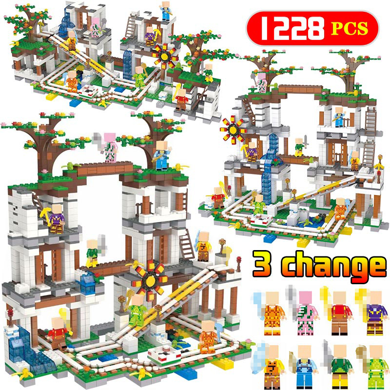 1228Pcs Legoing Minecrafted Govermment Cave Mine Slide Bricks My World Mini Sets Figures Building Blocks Toys For Children Gifts
