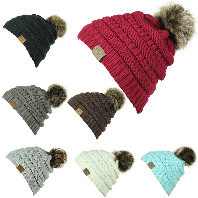 a73096e7c Winter Brand Female Ball Cap Pom Poms Winter Hat For Women Girl 'S Hat CC  Knitted Beanies Cap Hat Thick Women'S Skullies Beanies