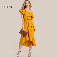 COLROVIE One Shoulder Hi Lo Ruffle Dress Sexy Overlap 2017 Women Yellow A Line Midi Summer