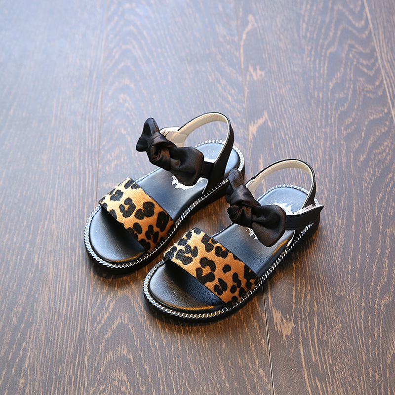 2018 Kids Summer Sandal Baby Girls Princess Print Infantil Beach Shoes Children Bowtie Non-silp Leopard Chaussures Enfants Fille