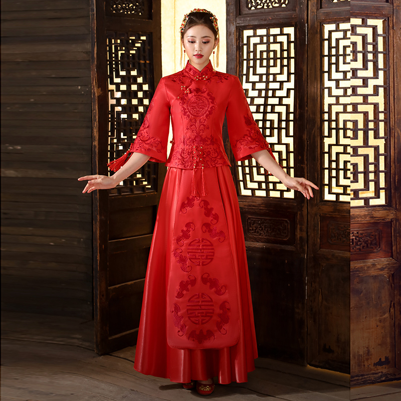 Red Wedding Bride Chinese Style Cheongsam Traditional Lady Long Qipao Embroidery Women's Evening Dress Marry Clothes S - XXXL