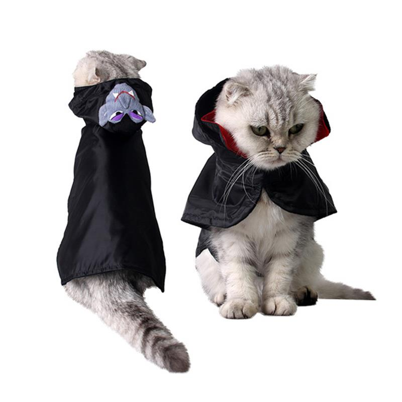 Funny Cat Clothes Costume Mask Hooded Suit Clothing For Cat Cool Halloween Vampire Costu ...