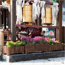 Rectangular flowerpot special vegetable planting box solid wood outdoor flowerpot rack anti-corrosion wood недорого