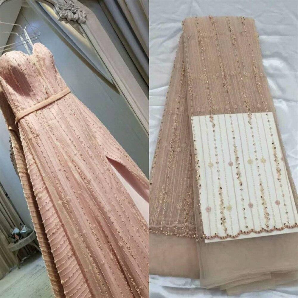 Розовый Африканский кружевной ткани 5 ярдов Африки Ткань лучшее качество французский блесток кружева обертка материал HJ622 1