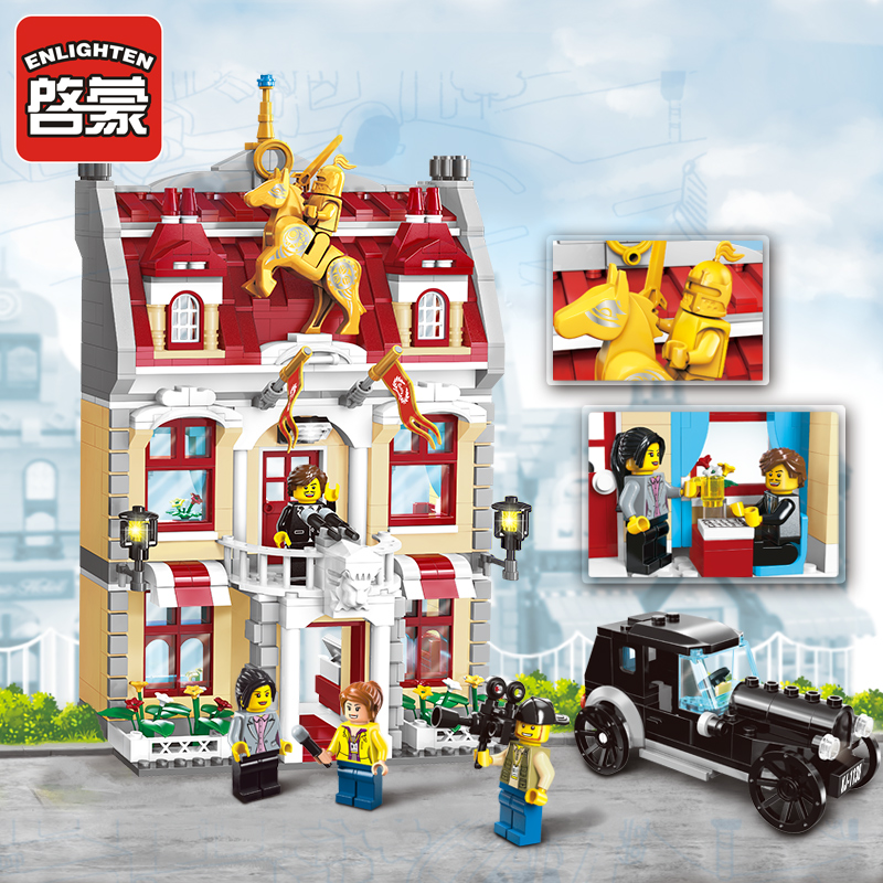 1130 ENLIGHTEN City Series Town Hall Model Building Blocks City Hall Classic Action Figure Toys For Children Compatible Legoe b1600 sluban city police swat patrol car model building blocks classic enlighten diy figure toys for children compatible legoe