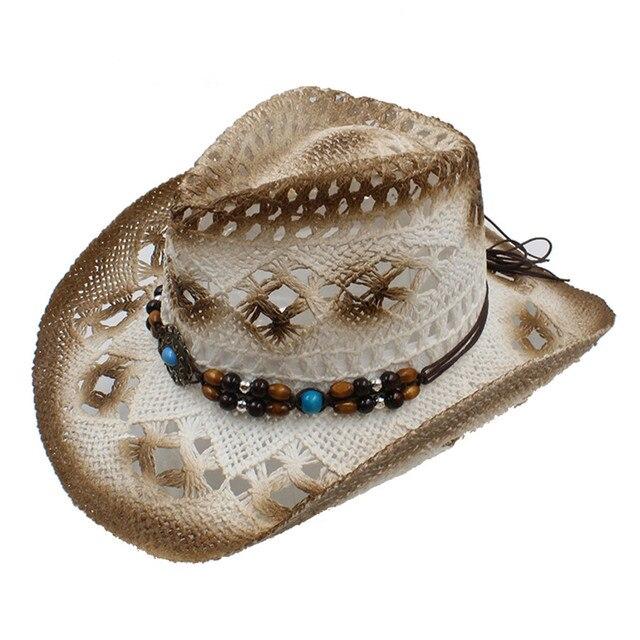 100% di Lavoro Manuale Degli Uomini Classici delle Donne Hollow Paglia Cappello  Da Cowboy Occidentale 858990beea0d
