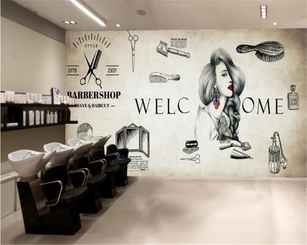 Beibehang retro personality wallpaper nostalgia hair salon for Salon wallpaper