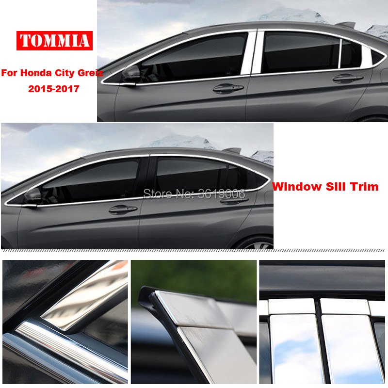 TOMMIA Full Window Middle Pillar Molding Sill Trim Chromium Styling Strips Stainless Steel For Honda City 15-17
