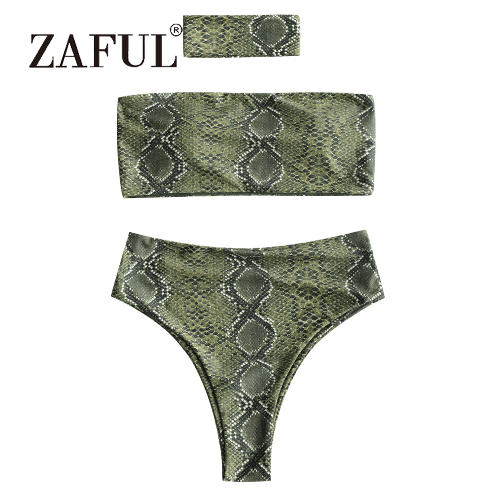 ZAFUL Snakeskin Bikini Sexy Print Bandeau Bikini with Choker Women Swimsuit Strapless High Waist Swimwear High Cut Beach Buquni цена