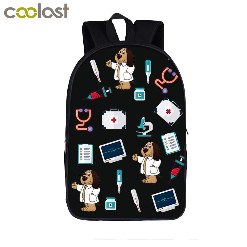 Cartoon Puppy Dog / Kitten Doctors Backpack Boys Girls Book Bag Children School Bags Kids Backpack Student Shoulder Bags Gift