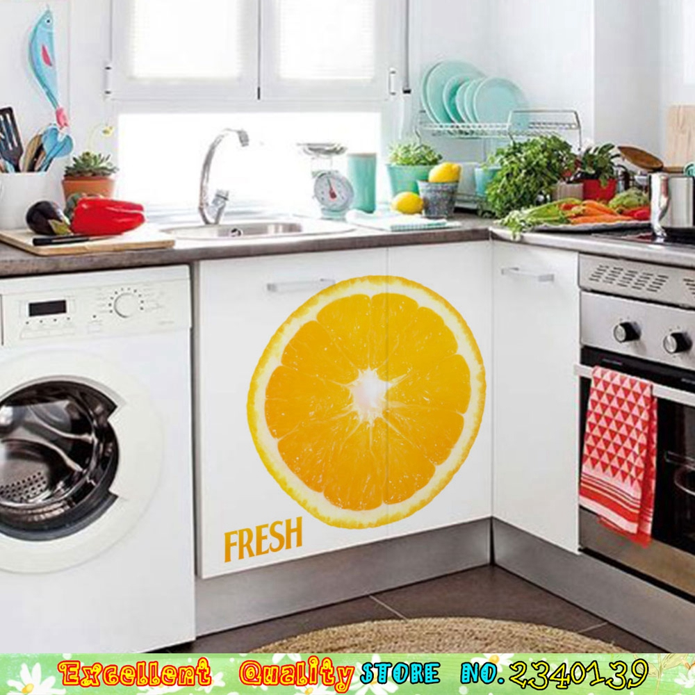 Fashion FRESH Orange Pattern Wall Stickers Home Kitchen Room ...