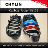 Carbon Fiber with Color Three Double Slats Front Kidney Grilles For BMW 3 Series F30 Sedan F31 Touring 2012 up M Look