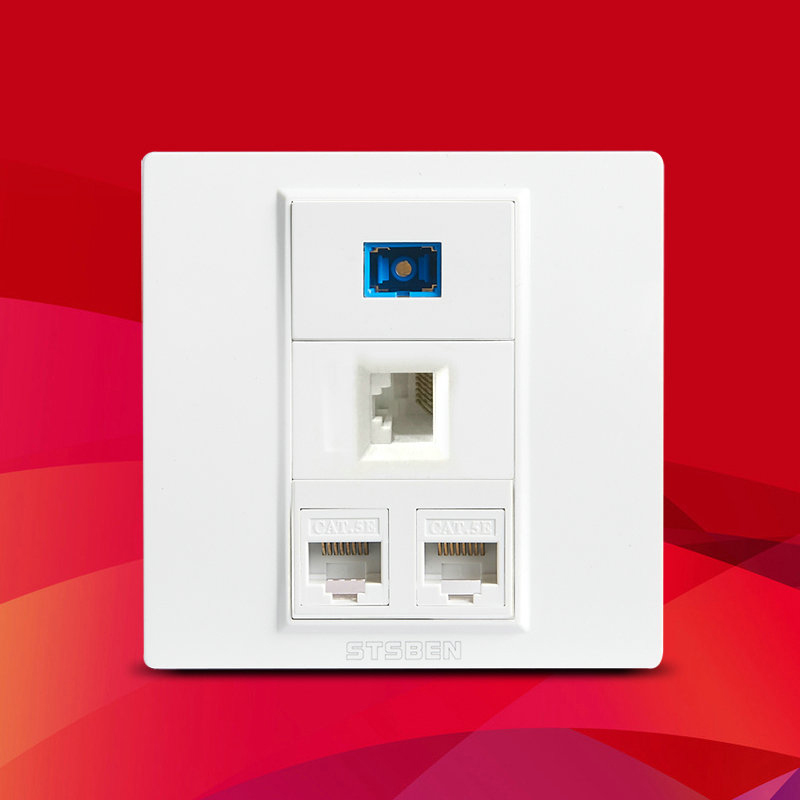 3 Port CAT6 RJ45 Ethernet Module And 1 Port Fiber SC Optical Interface Socket 86 Type Wall Panel Sockets White Weak Panel