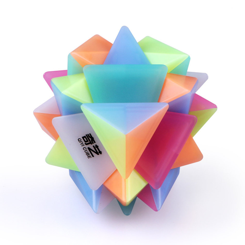Qiyi 3x3 Axis Cube Jelly Color Stickerless 3x3x3 Magic Cube 3Layers Speed Cube Professional Puzzle Toys For Children