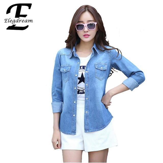 750b668620 Elegdream 2018 primavera otoño Denim camisa mujer ropa jeans camisas  vintage mujer camisa jeans blusas feminina