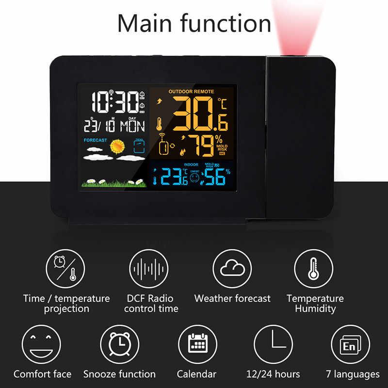 Новый Цвет Погодная станция с проекцией индикатор погоды DCF радио Управление календарь 7 языков будильник с подсветкой