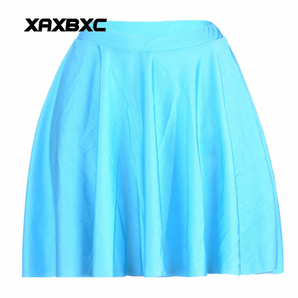 NEW 1057 Summer Sexy Girl Solid Candy Color Sky Blue Printed Cheering Squad Tutu Skater Women Mini Pleated Skirt Plus Size