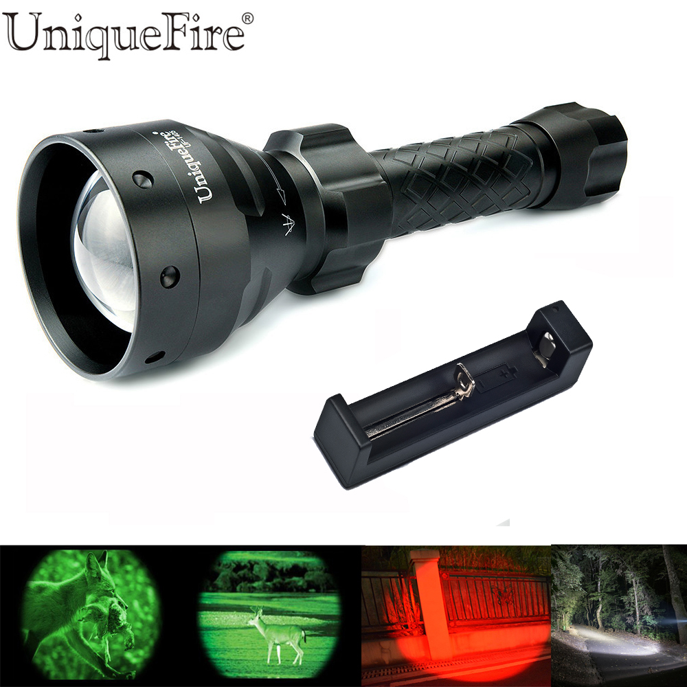 UniqueFire 67mm Lamp Torch Zoomable 1405 Cree XRE LED Flashlight Green/Red/White Light 3 Modes Switch Light+18650 Charger new uniquefire uf 1407 xre black zoomable led flashlight green red white light 5 mode 38mm lens portable camping lamp