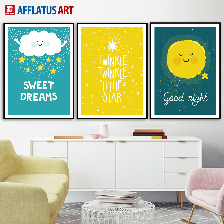 AFFLATUS Cloud Sun Sheep Nordic Poster Canvas Painting Wall Art ...
