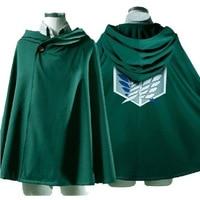 Free Shipping Anime Attack On Titan Cosplay Cloak Shingeki No Kyojin The Scouting Legion Eren Jaeger