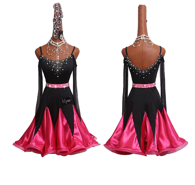 Lady Latin Dance Dress 2019 New High Quality Long Sleeve Ballroom Dancing Dresses Women Stage Competition Practice Clothing