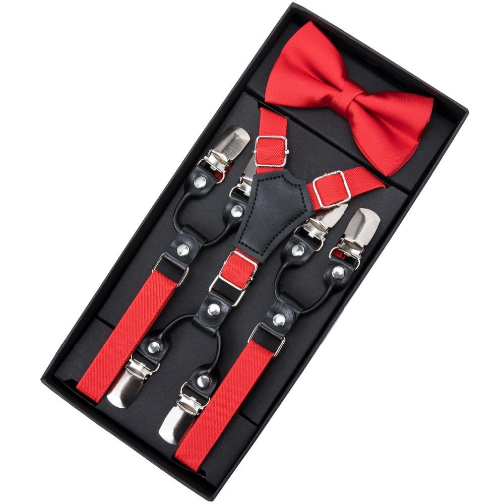 DiBanGu Child Red Solid Adjustable 6 Clips Suspenders Bowtie Set For Boys Children Kid Fashion Shirt Elastic Braces Belt Ties