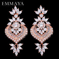 EMMAYA New Rose Gold Luxury Big Long Flower Pendant Drop Earrings With Shining CZ Brincos Bridal Women Wedding Jewelry
