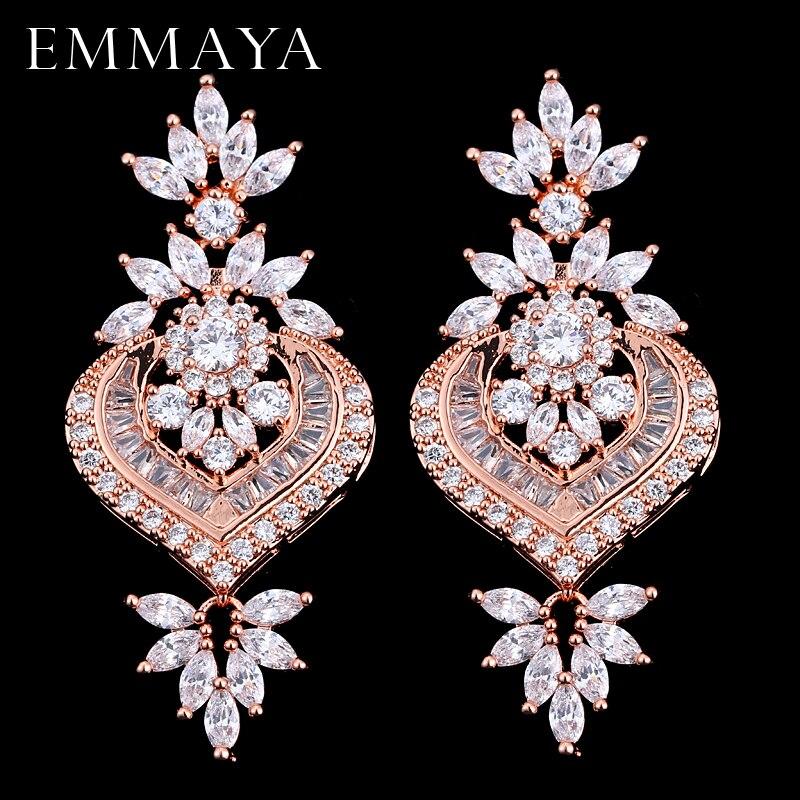 EMMAYA New Rose Gold Luxury Big Longos Brincos de Pingente de Flor Com Brilho CZ Brincos de Noiva Jóias de Casamento Das Mulheres