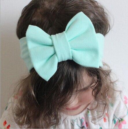 цена ON SALE 1PCS Baby Bowknot Headband Knitted Cotton Children Girls elastic hair bands Turban for girl Headbands bows bandeau bebe