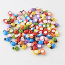 DIY Wall Sticker Wooden Beads 100pcs Easter Decoration Wood Ladybug Beads For Crafts Decoration Scrapbooking Bead Accessories(China)