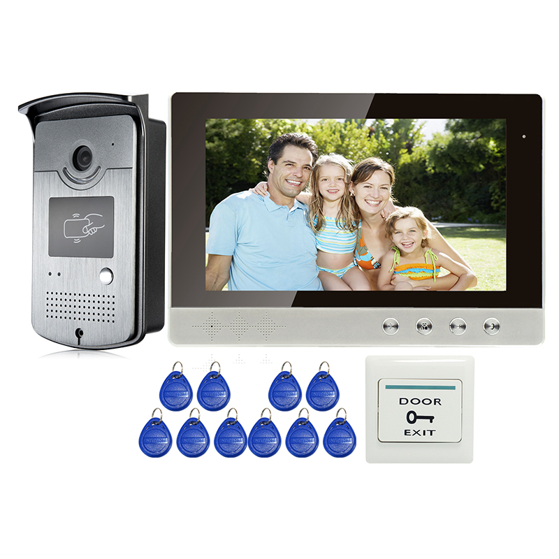 Free Shipping New 10 Color Screen Video Door Phone Intercom System + Outdoor RFID Reader Doorbell Camera IN Stock WHOLESALE free shipping new handheld 4 3 inch color tft video door phone doorbell intercom night vision door bell camera 3 screen in stock
