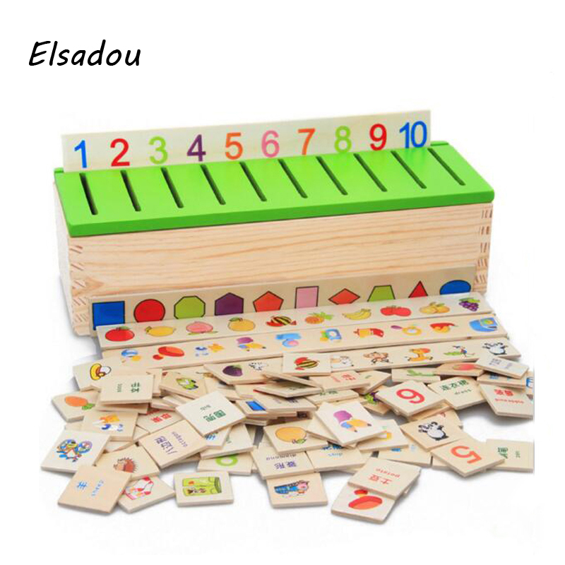 Elsadou Montessori Educational Dominoes Kids Toy Wooden Creature Blocks Children Early Learning Classification Box educational new toddler kids baby zoo animals wooden grasping children learning puzzle toy