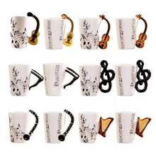 Creative Novelty Guitar Ceramic Cup Personality Music Note Sensitive Mug Cup Coffee Tea Milk Cup Unique Gift Home Cafe
