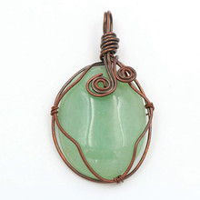 FYJS Unique Jewelry Copper Plated Handmade Wire Wrap Oval Shape Natural Green Aventurine Pendant