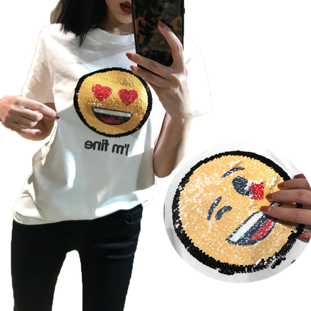 Color Changing Shirts >> Emoji Sequins Cotton T Shirts Reversible O Neck Beading Magical