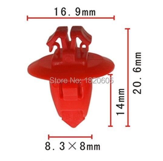 100Pcs Red Push-Type Bumper Wheel Flare Moulding Retainer Trim Panel Fastener Clips Rivets 90904-67037 For Toyota Highlander
