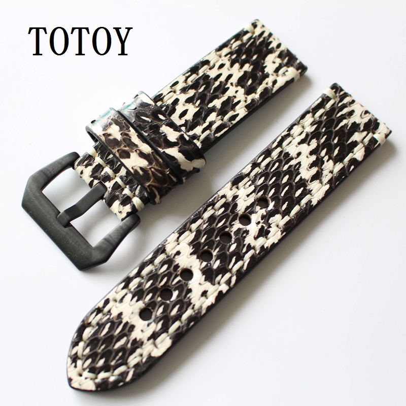TOTOY Classic Python Leather Watchbands 20MM 22MM 24MM Suitable For PAM111 Retro Style Strap, Fast Delivery