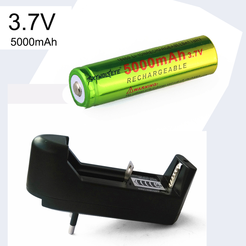 3.7V 5000mAH Li-ion Rechargeable 18650 Battery + EU / US Charger For Flashlight Torch Emergency Lighting Portable Devices Tools