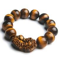 Genuine Natural Yellow Tiger's Eye Round Gems Stone Beads Women Man Fashion PiXiu Bracelet 18mm