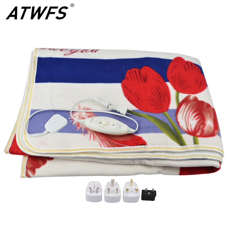 ATWFS Electric Plush Blanket Double Heated Blanket Security Blanket Thicker Single Electric Mat Body Warmer Heater for Winter цена