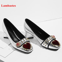 2018 Spring Silver Women Pumps Square Toe Crystal Flower Rivet Designer Women Pumps High Heel Buckle Retro Shallow Shoes Women