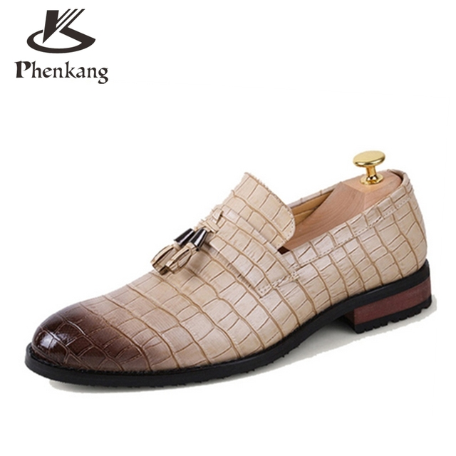 2017 designer brand casual wedding party dress alligator genuine leather slip flats shoe oxfords tassel loafers male shoes
