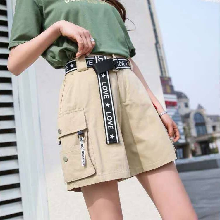 2019 Hip Hop Shorts Women BF Large Pocket Cargo Harajuku Loose Shorts Women Korean Ulzzang Trendy Street Summer Shorts Girls