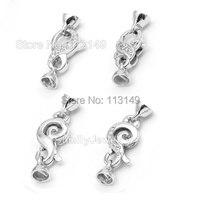 Weißen Rhodiniert 925 Sterling Silber Mit Zirkon Stein Hummer-haken Für Halskette Und Armband, SC-CZ006